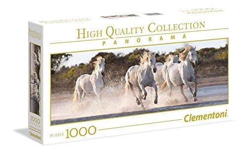 Clementoni 39441 Clementoni-39441-High Quality Collection Panorama-Running horses-1000 Pieces, Multi-Colour