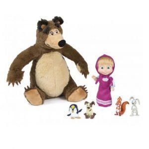 Masha Set Plushbear + Doll + Animals